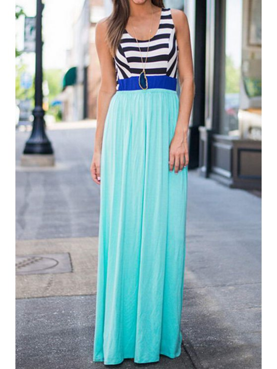 latest Scoop Neck Stripes Hit Color Cut Out Maxi Dress - TURQUOISE S