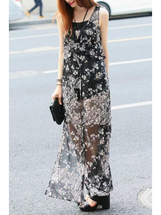 women's Tiny Floral Print Slit Sleeveless Dress - BLACK S