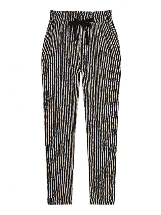 fancy Stripe Elastic Waisted Drawstring Pants - STRIPE ONE SIZE(FIT SIZE XS TO M)