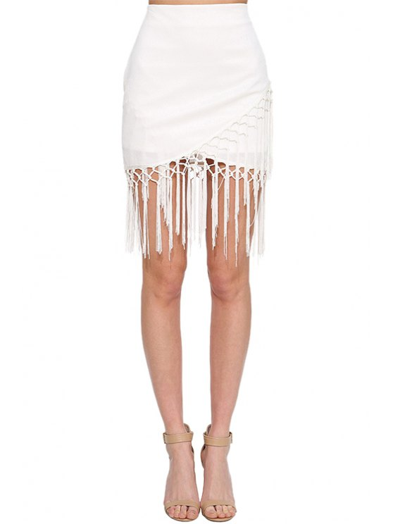 lady White High Waisted Bodycon Skirt - WHITE S