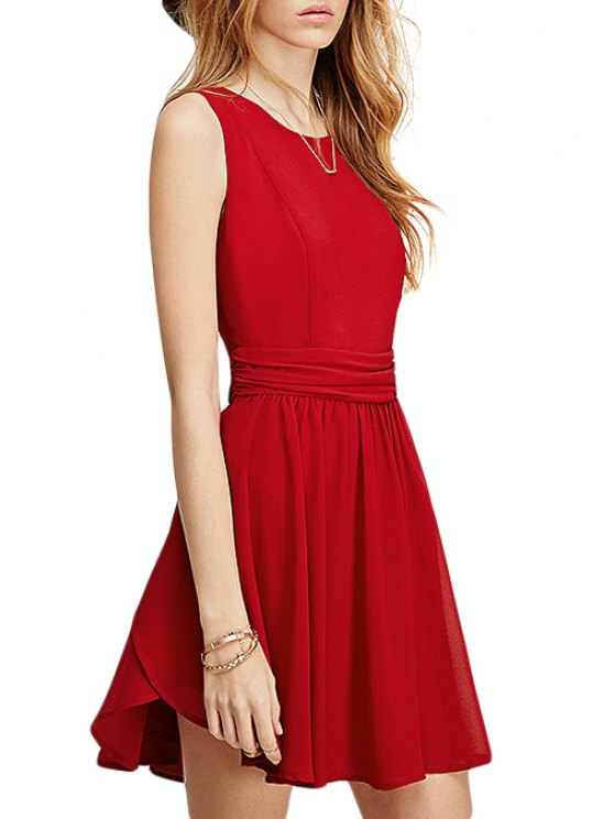 trendy Red Scoop Neck Flare Sundress - RED XS