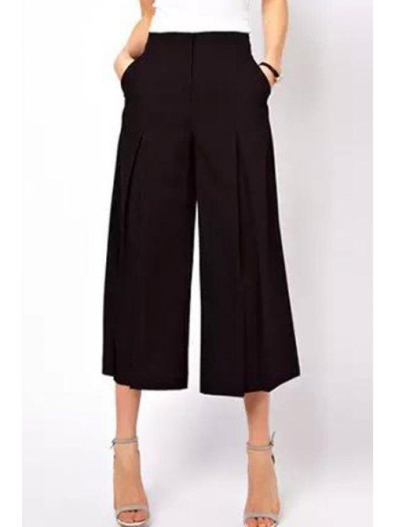 sale Black Ruffle Wide Leg Pants - BLACK S