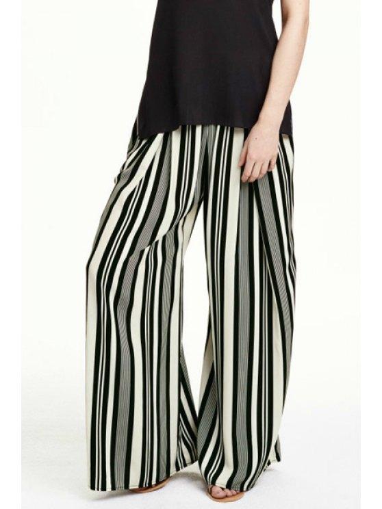 lady Color Block Stripe Wide Leg Pants - COLORMIX S