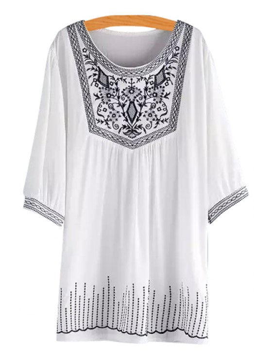 latest Half Sleeve Embroidered Loose-Fitting White Dress - WHITE ONE SIZE(FIT SIZE XS TO M)