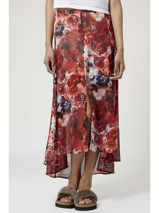 new Red Floral Print Asymmetrical Skirt - RED S