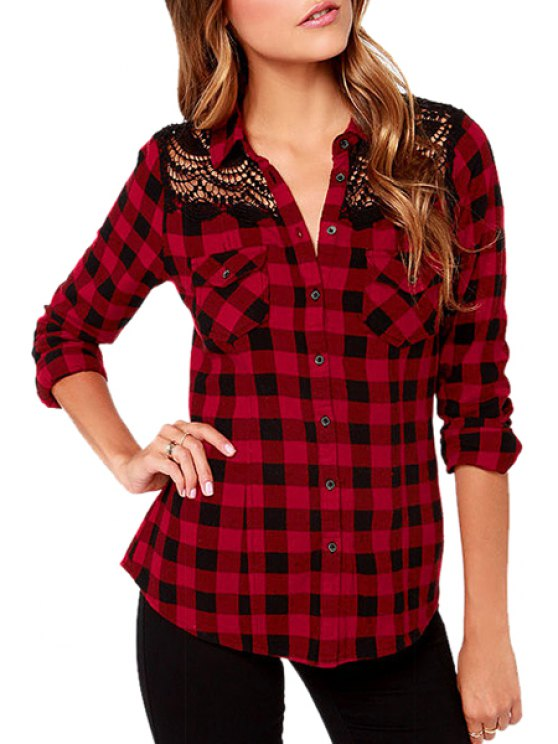 shop Red Plaid Print Long Sleeve Shirt - CHECKED XS