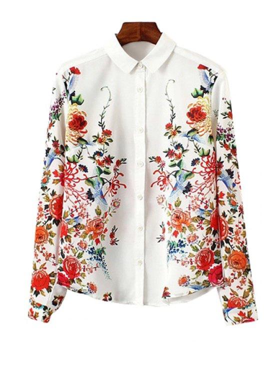best Shirt Collar Long Sleeve Flower Print Single-Breasted Shirt - WHITE S