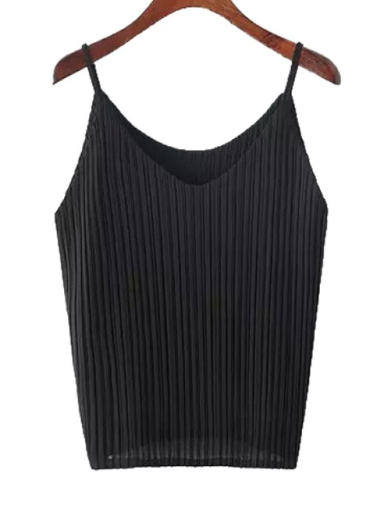 buy Pleated Spaghetti Strap Tank Top - BLACK ONE SIZE(FIT SIZE XS TO M)