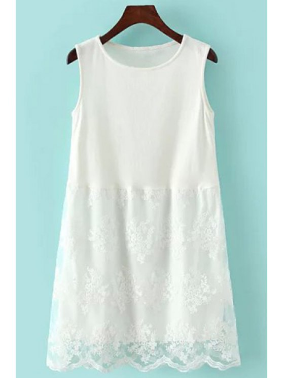 women's White Lace Spliced Sundress - WHITE M