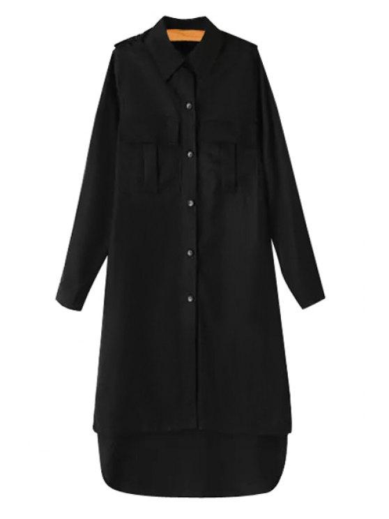 latest Long Sleeve Single-Breasted Pocket Design Trench Coat - BLACK S