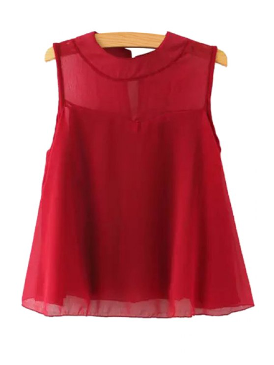 unique Solid Color Sleeveless A Line Blouse - RED M