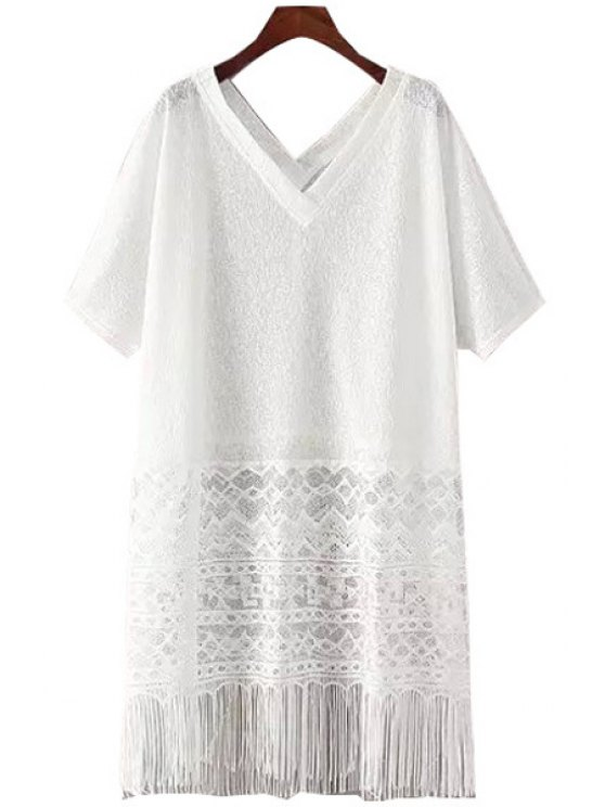 buy Lace Splicing See-Through Fringe Dress - WHITE ONE SIZE(FIT SIZE XS TO M)
