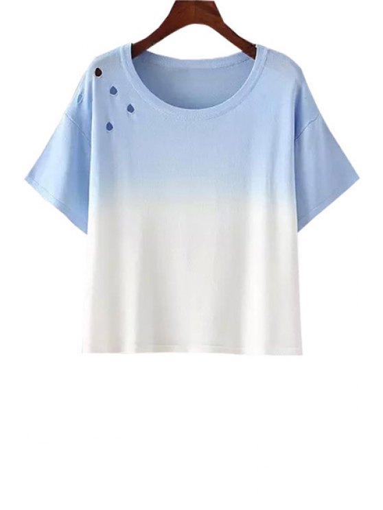 ladies Jewel Neck Ombre Hollow Out Short Sleeve T-Shirt - BLUE AND WHITE ONE SIZE(FIT SIZE XS TO M)