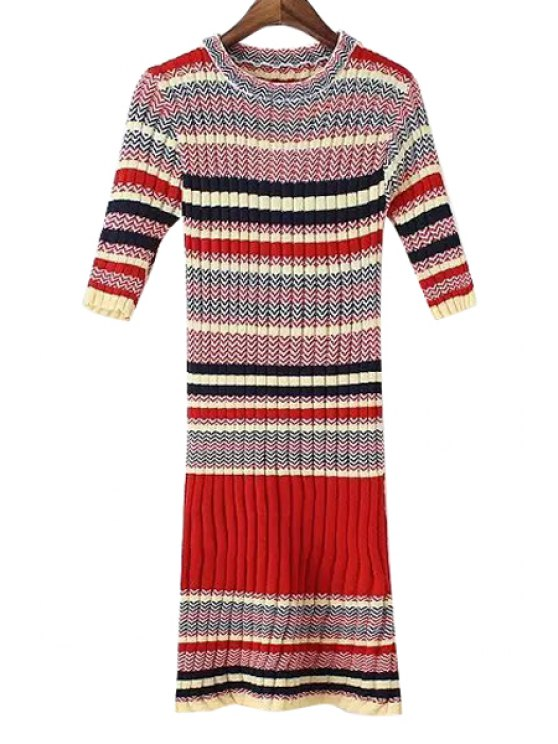lady Short Sleeve Striped Knitted Sweater Dress - RED ONE SIZE(FIT SIZE XS TO M)