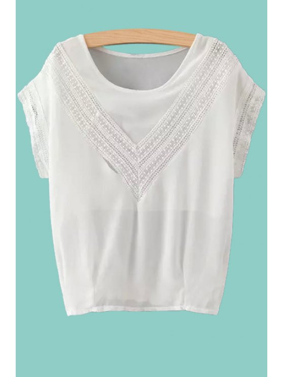 sale Lace Spliced Short Sleeve Chiffon Blouse - WHITE S