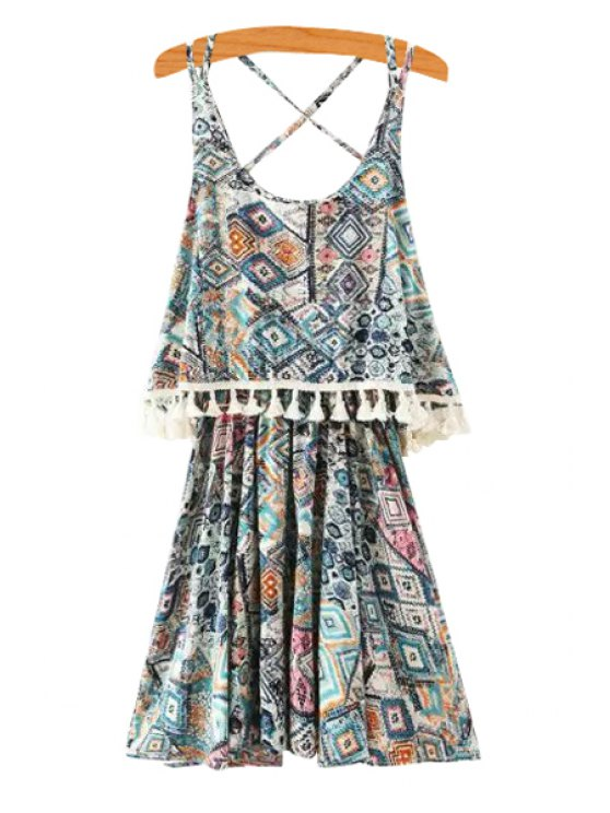 womens Spaghetti Strap Argyle Print Criss-Cross Layered Dress - COLORMIX S