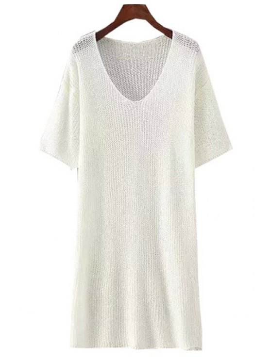 outfits V-Neck Solid Color Short Sleeve Knit Dress - WHITE ONE SIZE(FIT SIZE XS TO M)