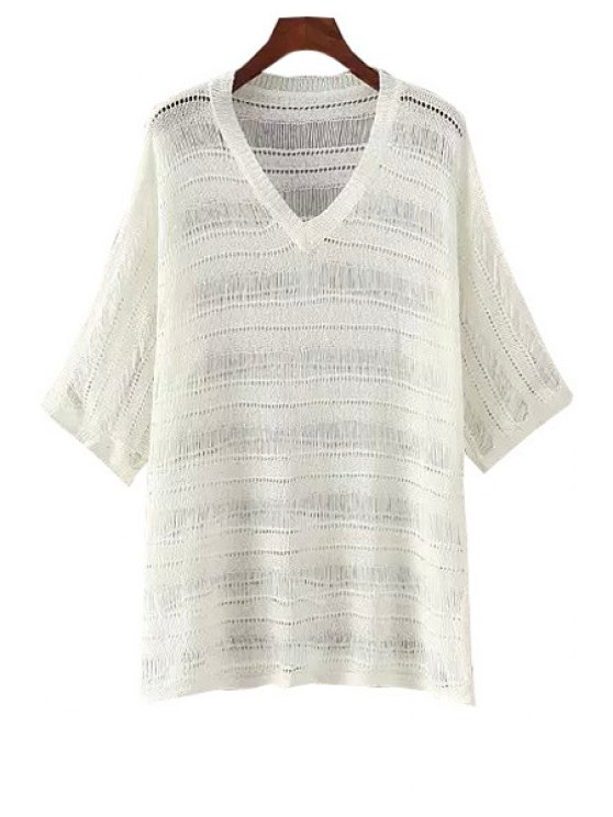 best V-Neck See-Through Solid Color T-Shirt - WHITE ONE SIZE(FIT SIZE XS TO M)