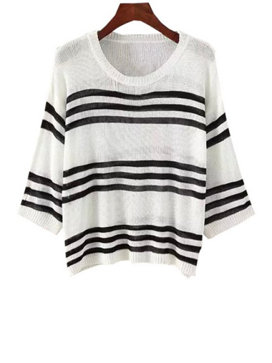 hot Stripe See-Through Long Sleeve Sweater - WHITE ONE SIZE(FIT SIZE XS TO M)