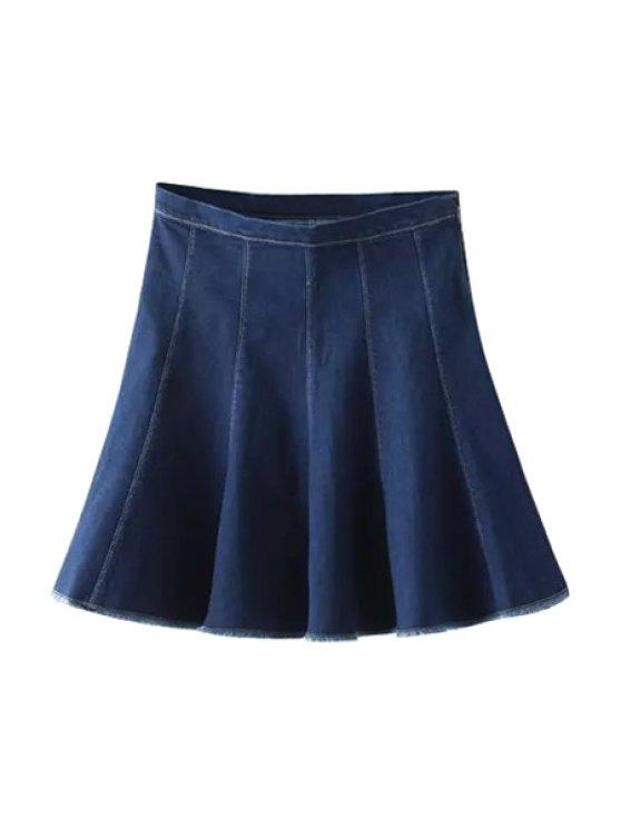 outfits High-Waisted Ruffled Spliced Pure Color Denim Skirt - PURPLISH BLUE S