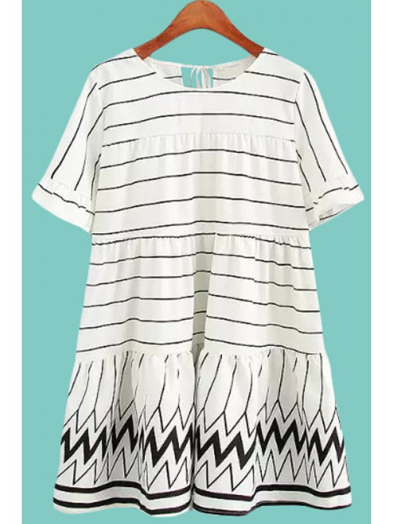shop Jewel Neck Stripe Ruffle Tie-Up Dress - WHITE M