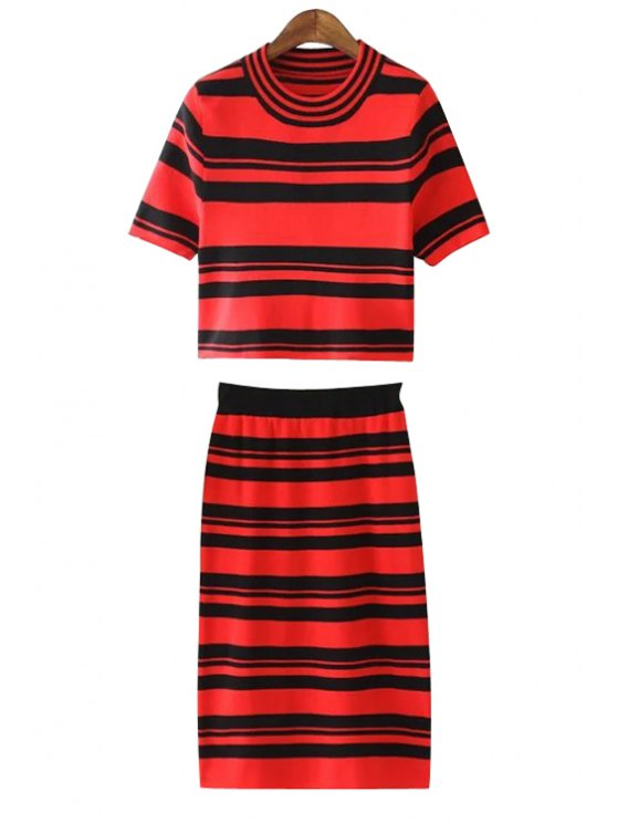buy Jewel Neck Short Sleeve Crop Top + Striped Packet Buttocks Skirt Twinset - RED ONE SIZE(FIT SIZE XS TO M)