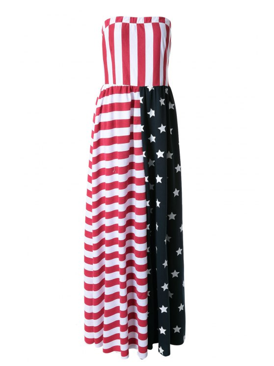 new American Flag Print Strapless Maxi Dress - RED S