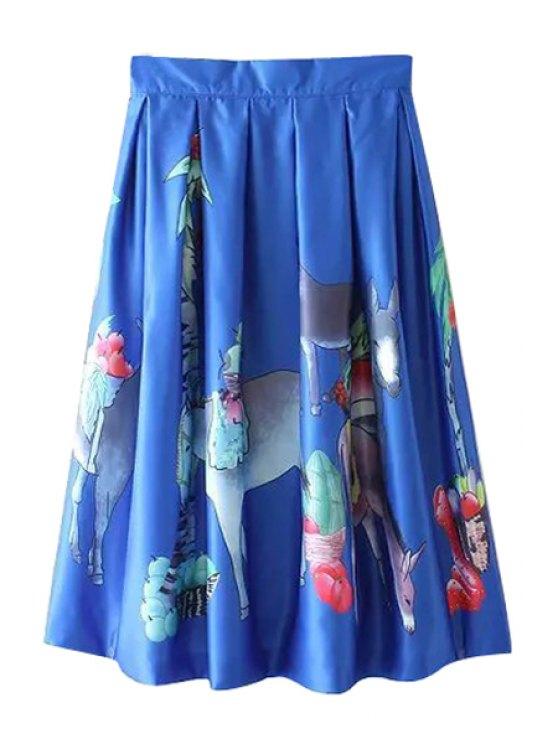 lady Zipper-Fly Floral Print Ruffled Midi Skirt - BLUE S