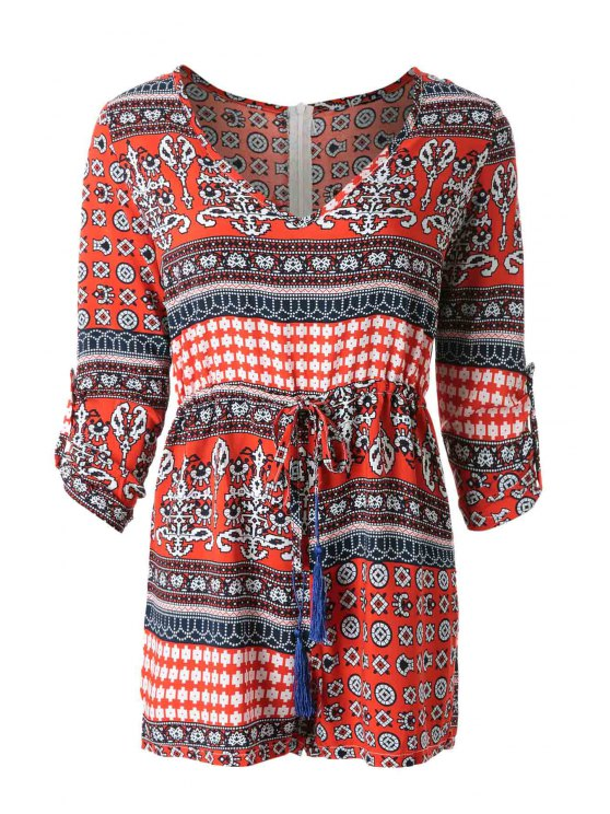 outfit Ethnic Print V-Neck 3/4 Sleeves Romper - RED S