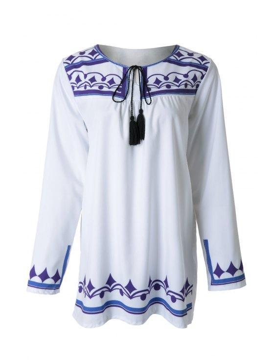best Geometric Pattern Long Sleeve Dress - WHITE S