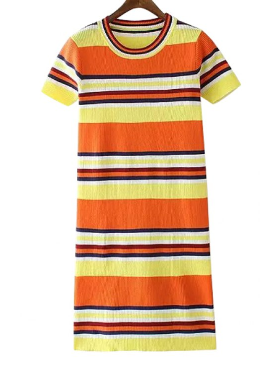 online Striped Color Block Sweater Dress - ORANGE ONE SIZE(FIT SIZE XS TO M)
