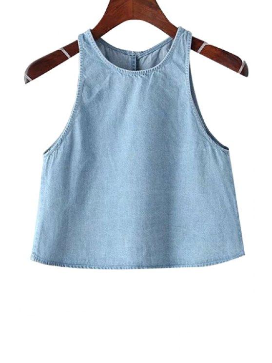 online Round Neck Solid Color Denim Crop Top - BLUE XS