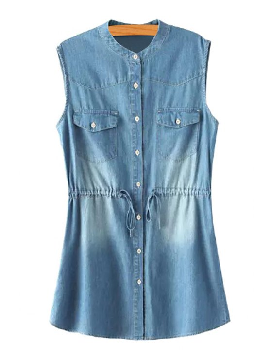 buy Single-Breasted Drawstring Design Denim Dress - BLUE S