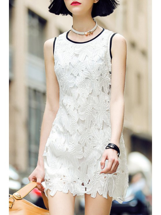 shops Floral Pattern Openwork Sleeveless Dress - WHITE M