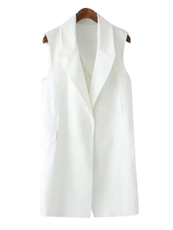 affordable Lapel Solid Color Pocket Design Slit Waistcoat - WHITE S