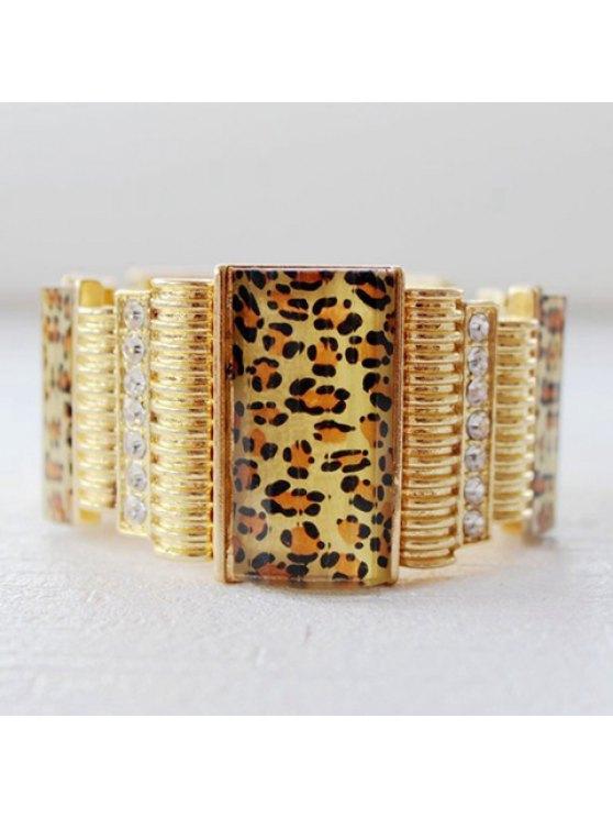 women's Chic Leopard Pattern Rhinestone Decorated Bracelet For Women - GOLDEN