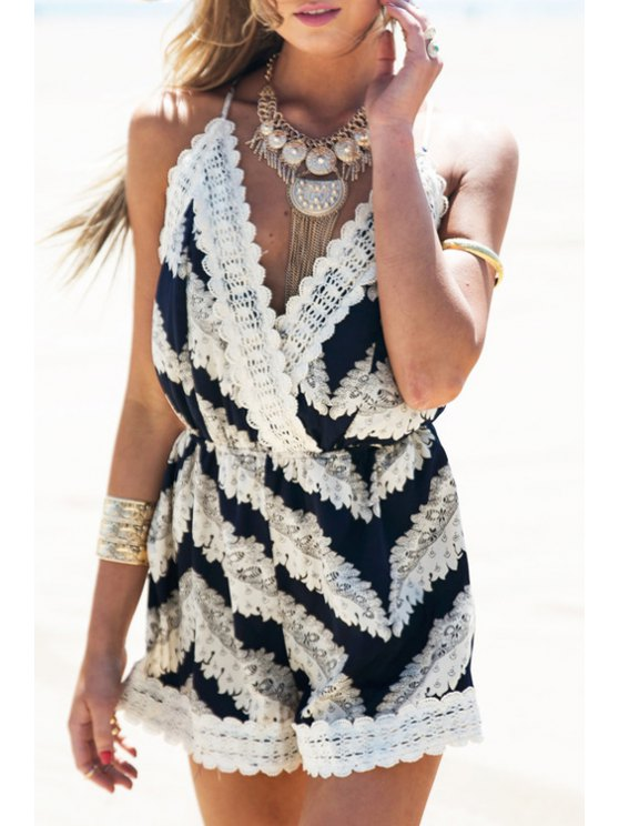 unique Straps Stripes Crossed Back Playsuit - WHITE AND BLACK S