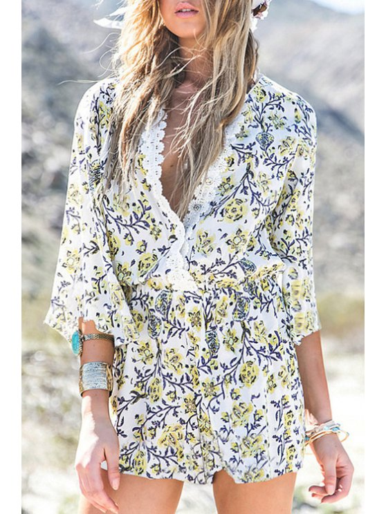 womens Plunging Neck Lace Floral Print 3/4 Sleeve Romper - WHITE S