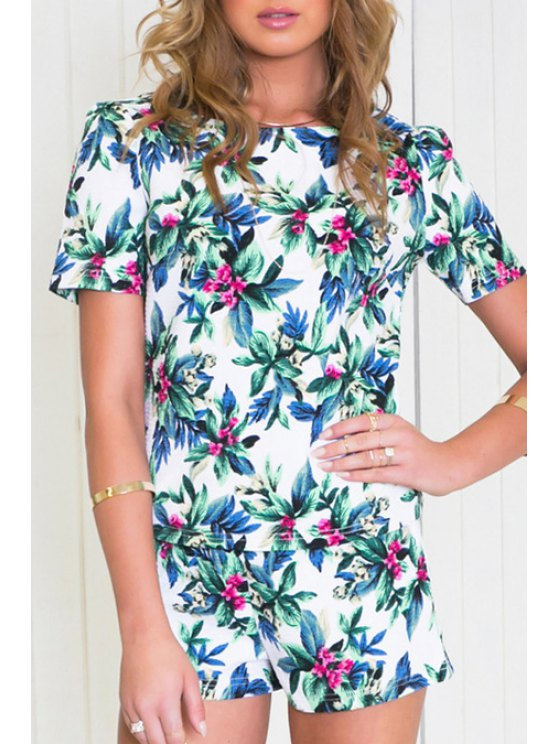 new Floral Leaves Print Short Sleeve T-Shirt + Shorts - COLORMIX S