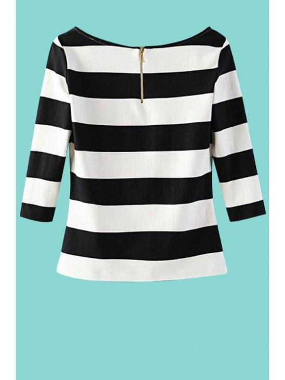 trendy Stripes Scoop Neck 3/4 Sleeve T-Shirt - STRIPE M