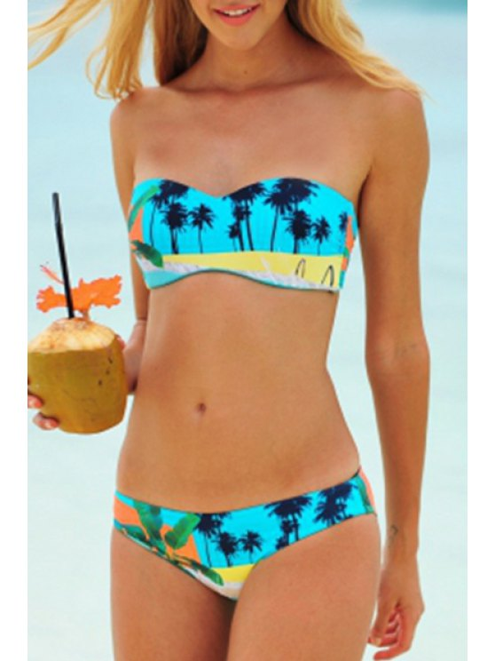 outfits Strapless Coconut Tree Print Bikini Set - LAKE BLUE S