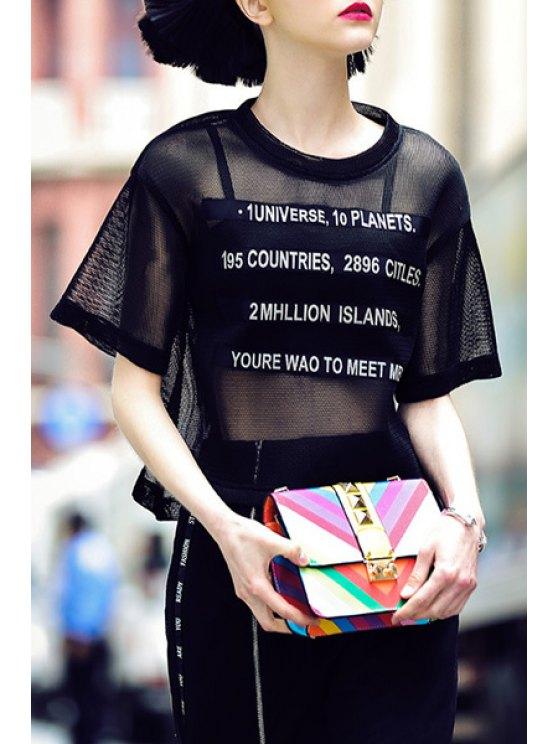 unique Black Hollow Out Short Sleeve T-Shirt - BLACK S
