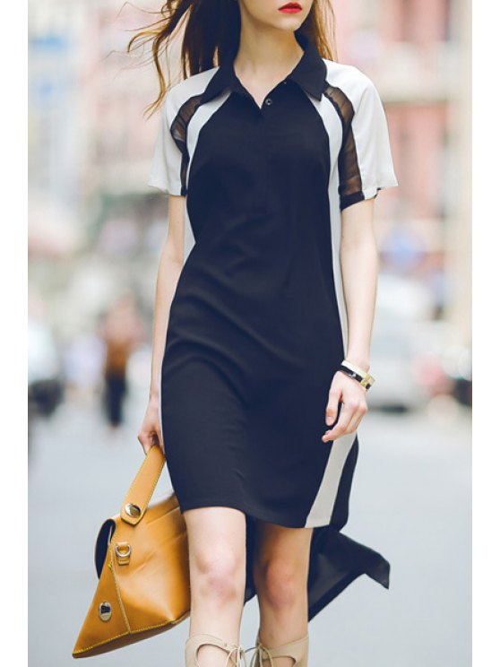 online Color Block Short Sleeve High Low Dress - WHITE AND BLACK S