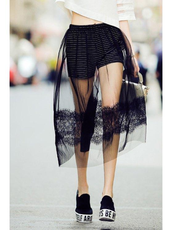 buy Lace Spliced A Line Black Skirt - BLACK S