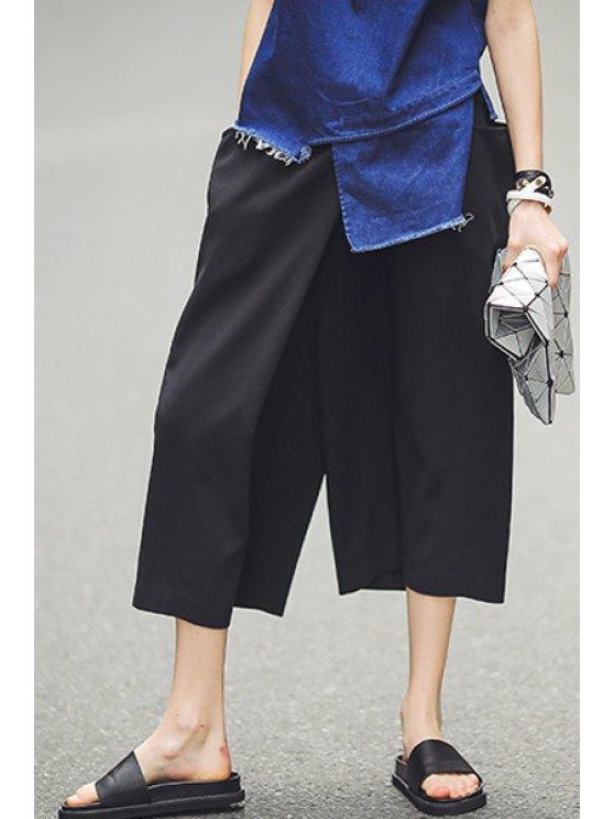 women's Black Elastic Waist Wide Leg Capri Pants - BLACK S