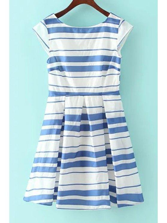trendy Striped Short Sleeve Flare Dress - BLUE S
