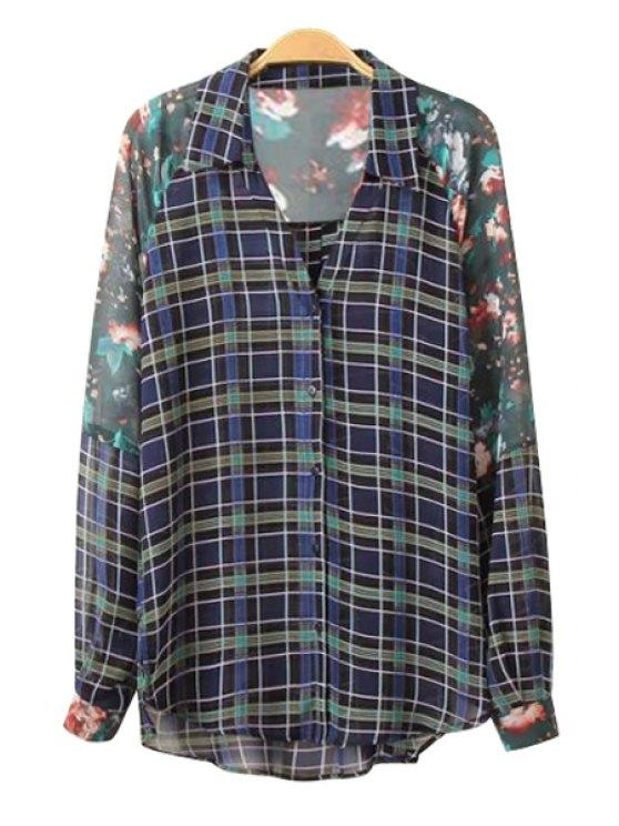 outfit Plaid Print Long Sleeve Chiffon Shirt - GREEN S