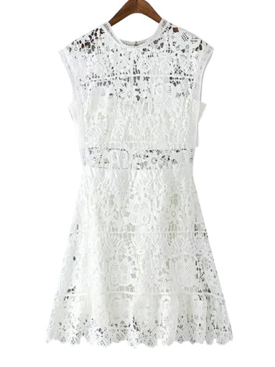 unique White Lace Sleeveless Flare Dress - WHITE S