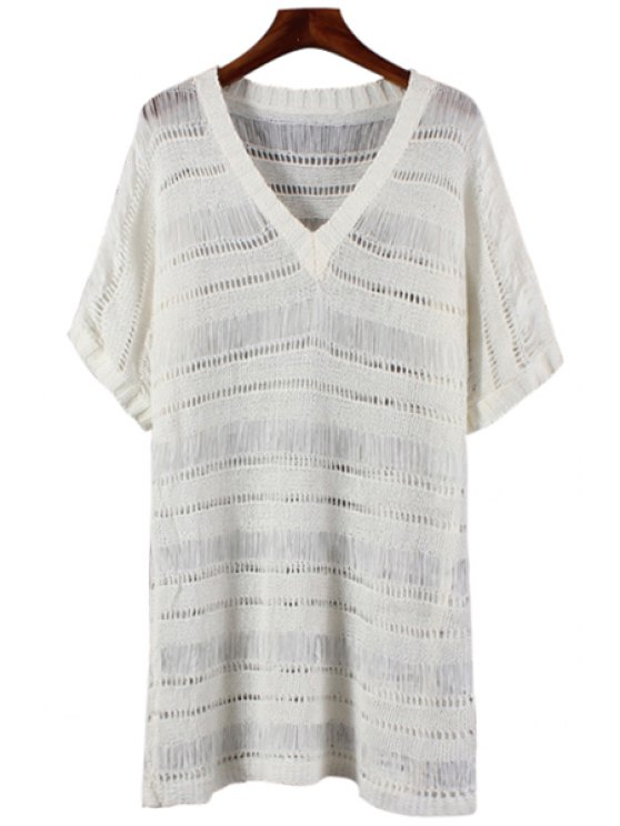 lady Solid Color Openwork See-Through Dress - WHITE ONE SIZE(FIT SIZE XS TO M)