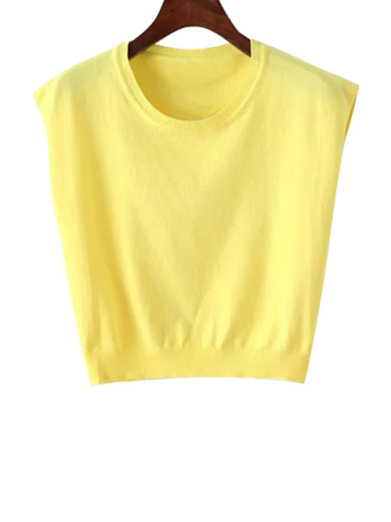 affordable Solid Color Sleeveless Knitwear - YELLOW ONE SIZE(FIT SIZE XS TO M)